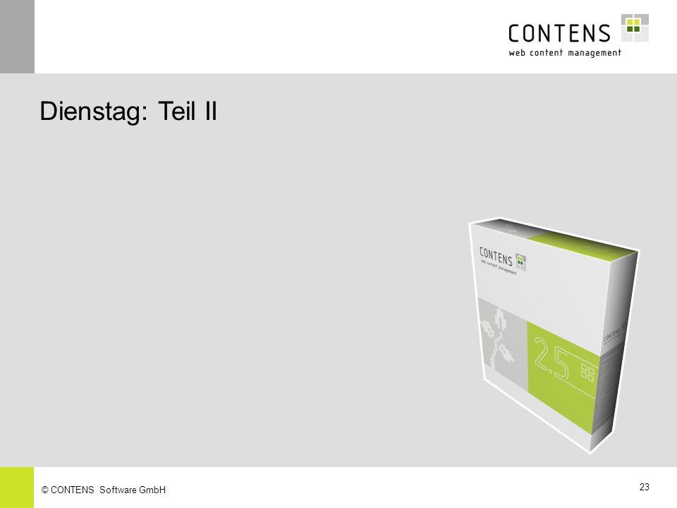 22 © CONTENS Software GmbH Empfehlungsfunktion Module – Collaboration Paket Eine einfache Möglichkeit, die Artikel Ihrer Website an Freunde oder Kollegen per E-Mail weiterzuempfehlen Sie enthält den Titel der Meldung, den Pfad sowie einen Link, mit dem der Artikel direkt aufgerufen werden kann Integriert ist ein zuschaltbarer Anti-Spam Schutz, um den Missbrauch des Tools zu verhindern Die Empfehlungsfunktion kann gleichermaßen für statische und dynamische Seiten eingesetzt werden