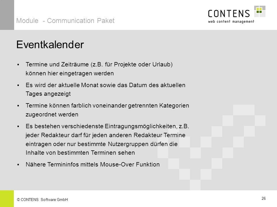 26 © CONTENS Software GmbH Eventkalender Module - Communication Paket Termine und Zeiträume (z.B.