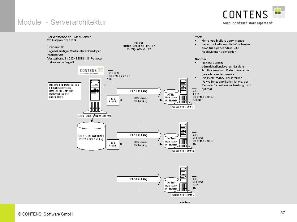 37 © CONTENS Software GmbH Module - Serverarchitektur