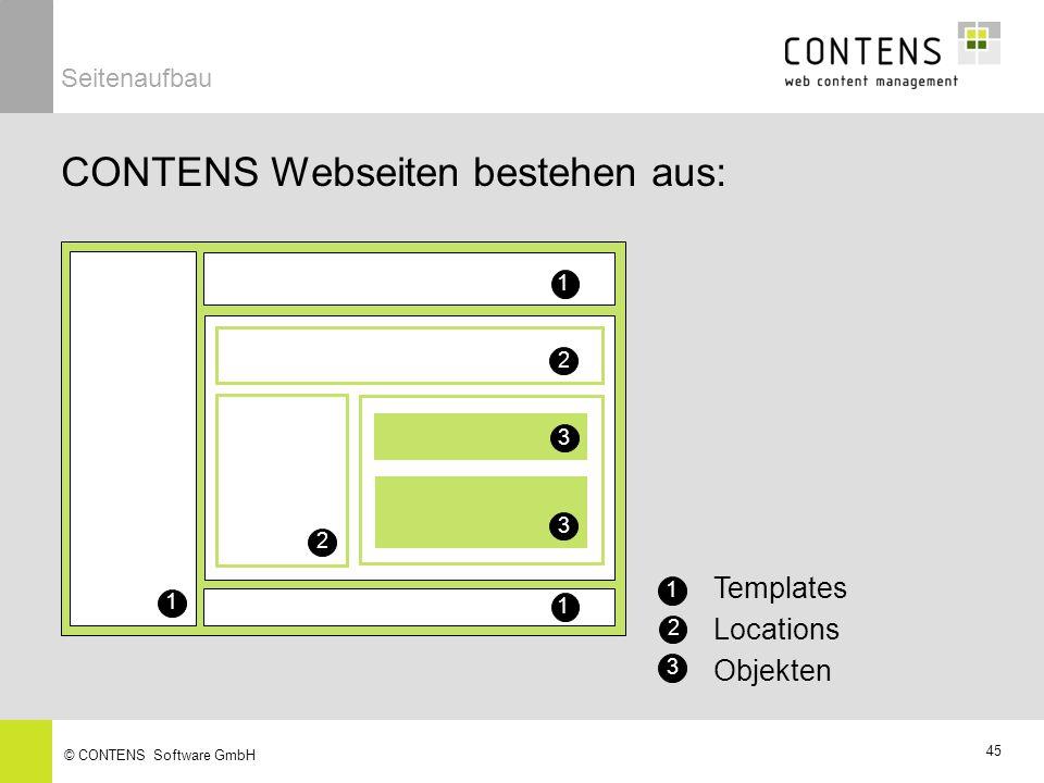45 © CONTENS Software GmbH CONTENS Webseiten bestehen aus: 1 1 1 1 Templates 2 2 2 Locations 3 Objekten 3 3 Seitenaufbau