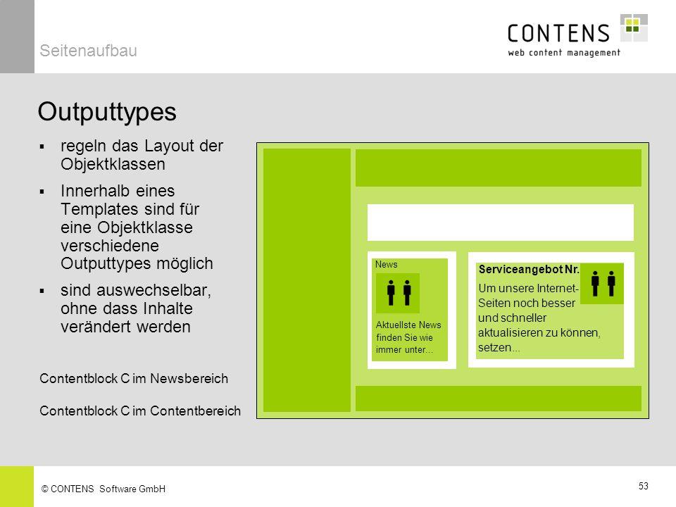 52 © CONTENS Software GmbH Beispiel Text mit Überschrift und Bild Geben Sie hier die Überschrift ein: OKCancel Geben Sie hier den Text ein: Bild aus Bibliothek laden: Serviceangebot Nr.