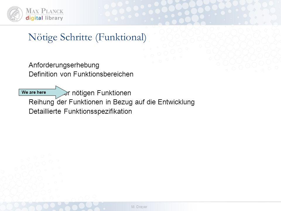 M. Dreyer Nötige Schritte (Funktional) Anforderungserhebung Definition von Funktionsbereichen Definition der nötigen Funktionen Reihung der Funktionen