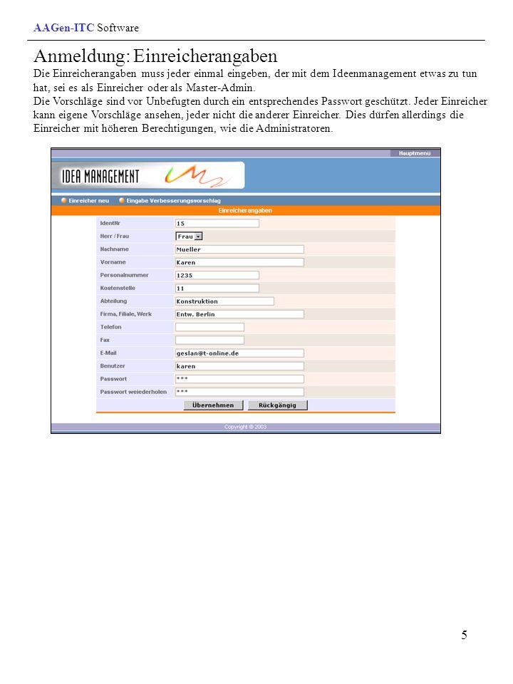 6 Einreicherliste / Aufgabenbereiche Nur Master-Admin kann Berechtigungen der einzelnen Einreicher (Mitglieder) vergeben.