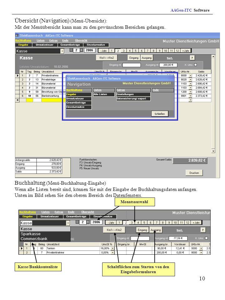 10 Übersicht (Navigation) (Menü-Übersicht): Mit der Menüübersicht kann man zu den gewünschten Bereichen gelangen.