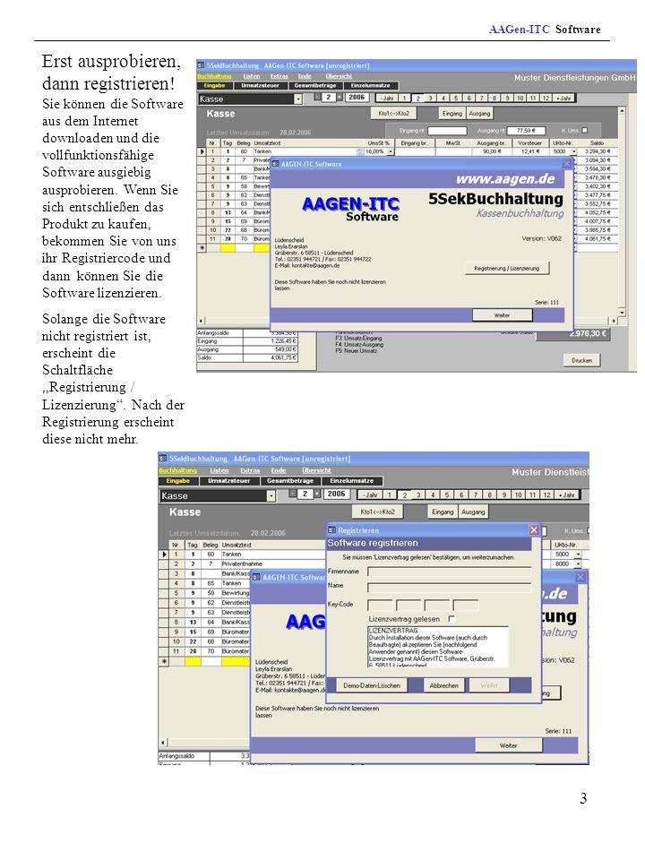 3 AAGen-ITC Software Erst ausprobieren, dann registrieren.