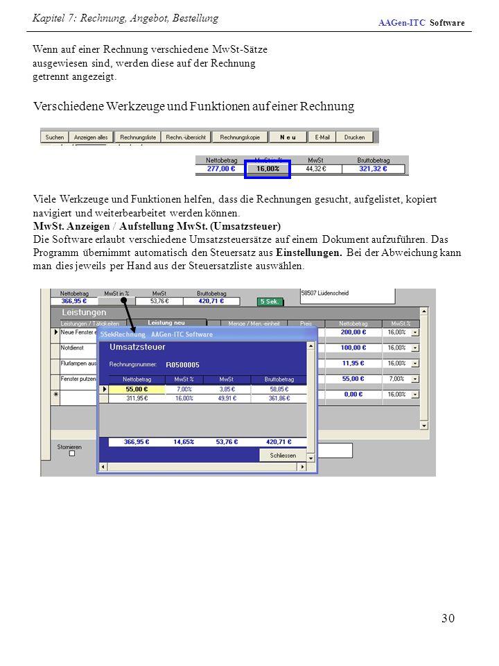 30 Wenn auf einer Rechnung verschiedene MwSt-Sätze ausgewiesen sind, werden diese auf der Rechnung getrennt angezeigt. Verschiedene Werkzeuge und Funk