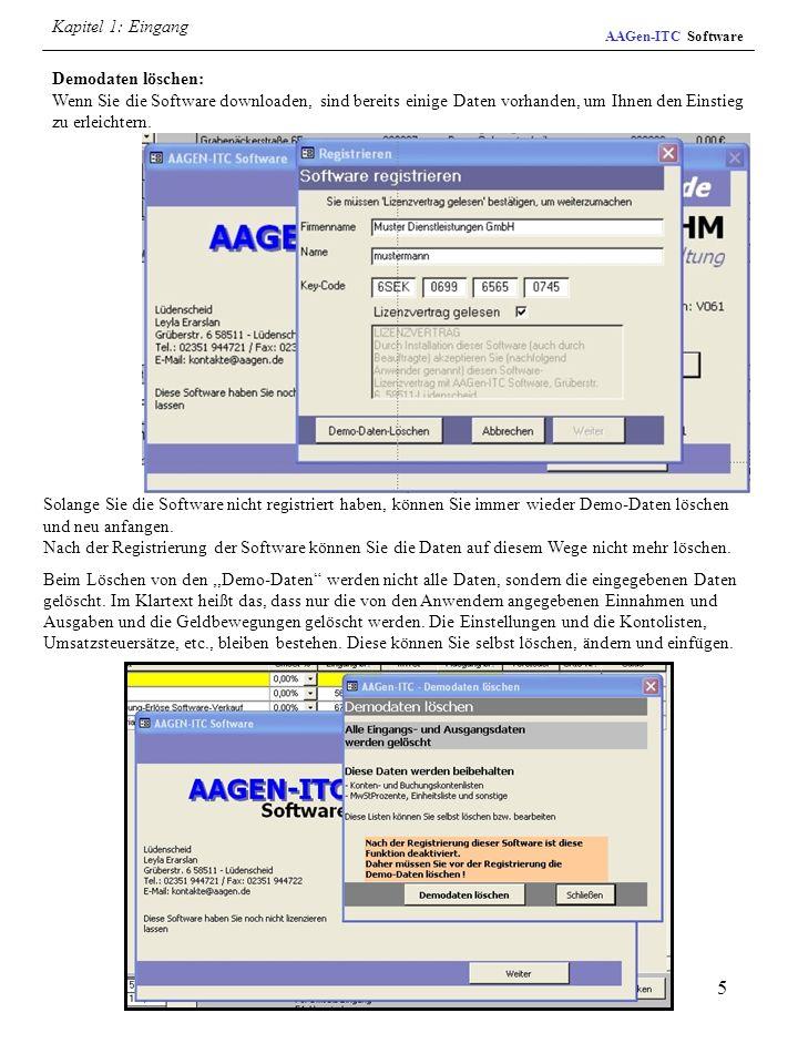 16 AAGen-ITC Software Kapitel 4: Einstellungen Firmenbriefbogen : Sie können hier Ihre eigenen Geschäftsbogen aufbereiten und ausdrucken, sowie die Rändereinstellungen für die Rechnungen, Angebote etc.