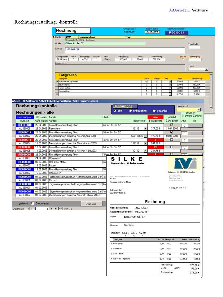 5 Rechnungserstellung, -kontrolle AAGen-ITC Software