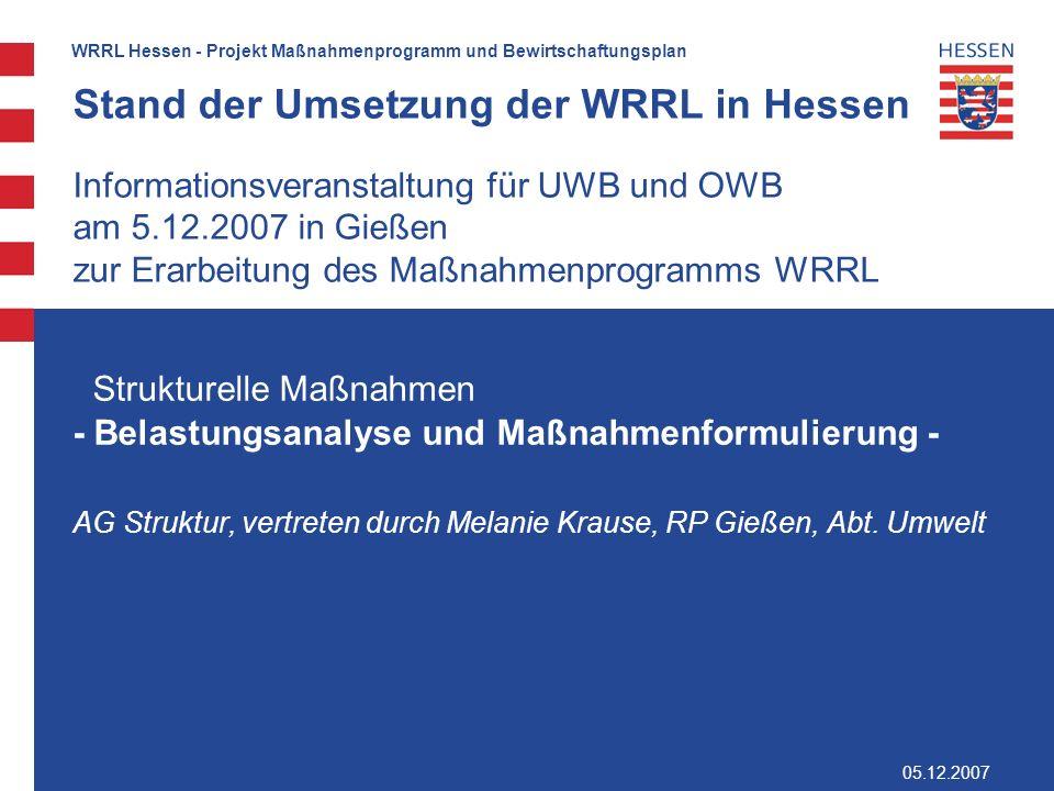 2 WRRL Hessen - Projekt Maßnahmenprogramm und Bewirtschaftungsplan Gliederung Die Belastungsanalyse am Beispiel des Bewertungssystem für die Qualitätskomponente Makrozoobenthos die Ergebnisse und die ableitbaren Defizite (Defizitanalyse) Ableitung der morphologischen Umweltziele (Operationalisierung) Maßnahmenidentifikation Vorschlag zur Einbindung der UWBen