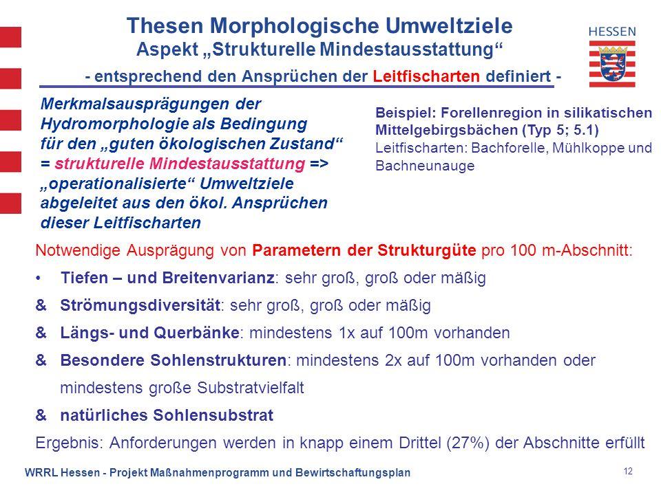 12 WRRL Hessen - Projekt Maßnahmenprogramm und Bewirtschaftungsplan Thesen Morphologische Umweltziele Aspekt Strukturelle Mindestausstattung - entspre