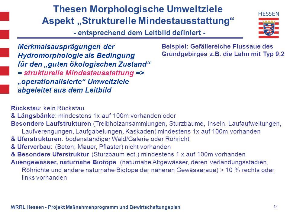 13 WRRL Hessen - Projekt Maßnahmenprogramm und Bewirtschaftungsplan Merkmalsausprägungen der Hydromorphologie als Bedingung für den guten ökologischen