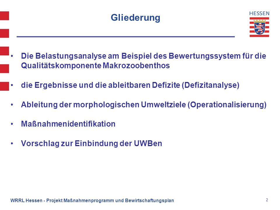2 WRRL Hessen - Projekt Maßnahmenprogramm und Bewirtschaftungsplan Gliederung Die Belastungsanalyse am Beispiel des Bewertungssystem für die Qualitäts