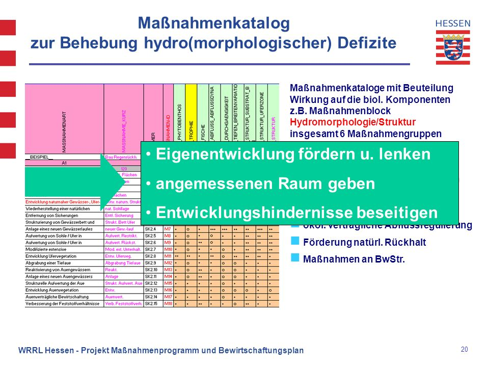 20 WRRL Hessen - Projekt Maßnahmenprogramm und Bewirtschaftungsplan Maßnahmenkatalog zur Behebung hydro(morphologischer) Defizite Maßnahmenkataloge mi