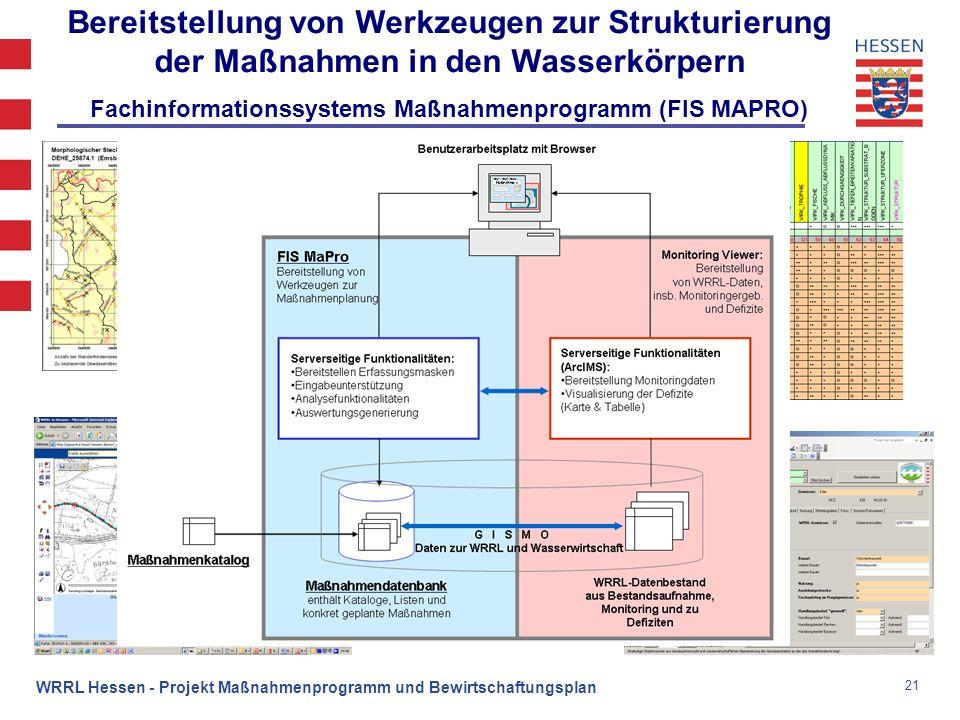21 WRRL Hessen - Projekt Maßnahmenprogramm und Bewirtschaftungsplan Bereitstellung von Werkzeugen zur Strukturierung der Maßnahmen in den Wasserkörper