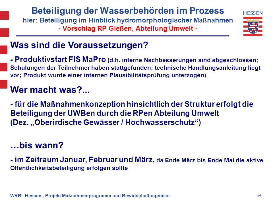 24 WRRL Hessen - Projekt Maßnahmenprogramm und Bewirtschaftungsplan Beteiligung der Wasserbehörden im Prozess hier: Beteiligung im Hinblick hydromorph