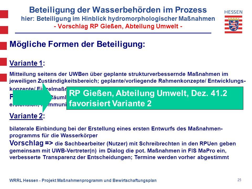 25 WRRL Hessen - Projekt Maßnahmenprogramm und Bewirtschaftungsplan Beteiligung der Wasserbehörden im Prozess hier: Beteiligung im Hinblick hydromorph