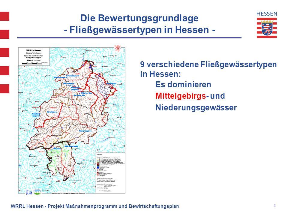 5 WRRL Hessen - Projekt Maßnahmenprogramm und Bewirtschaftungsplan Die Bewertungsgrundlage - Fließgewässertypen in Hessen, Beispiele - Typ 5:grobmaterialreicher silikatischer Mittelgebirgsbach Emsbach Lahn Typ 9.2:großer Fluss des Mittelgebirges