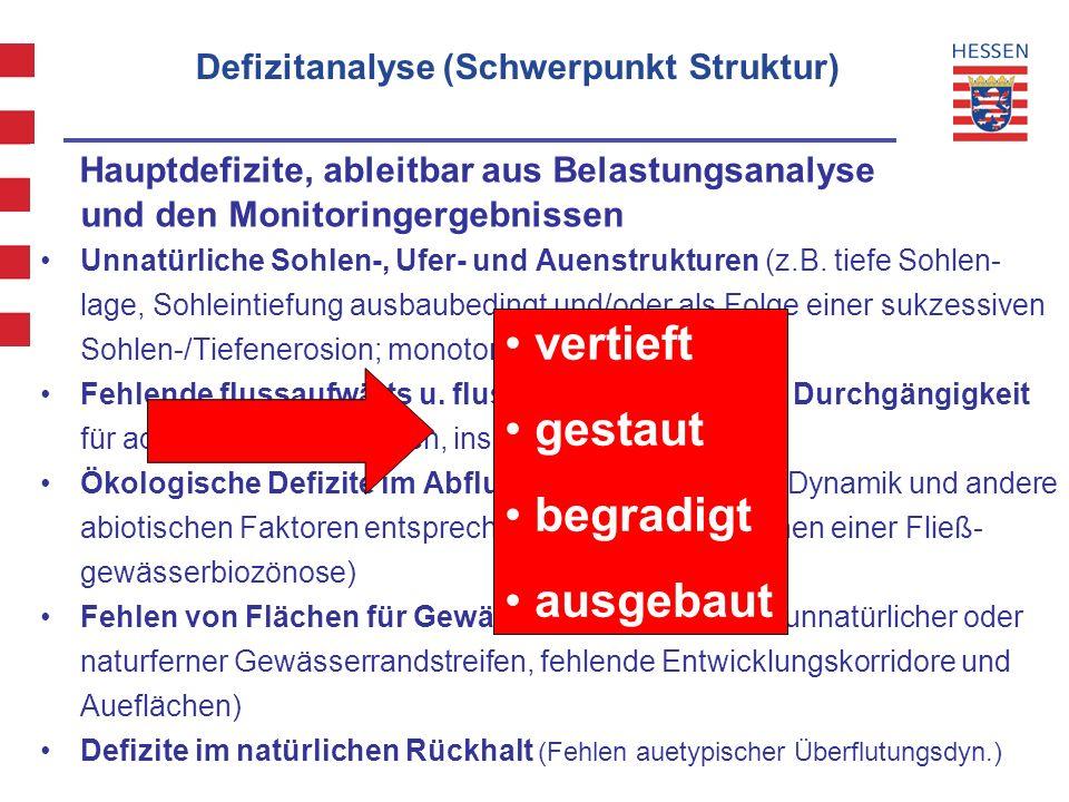 9 WRRL Hessen - Projekt Maßnahmenprogramm und Bewirtschaftungsplan Defizitanalyse (Schwerpunkt Struktur) Hauptdefizite, ableitbar aus Belastungsanalys