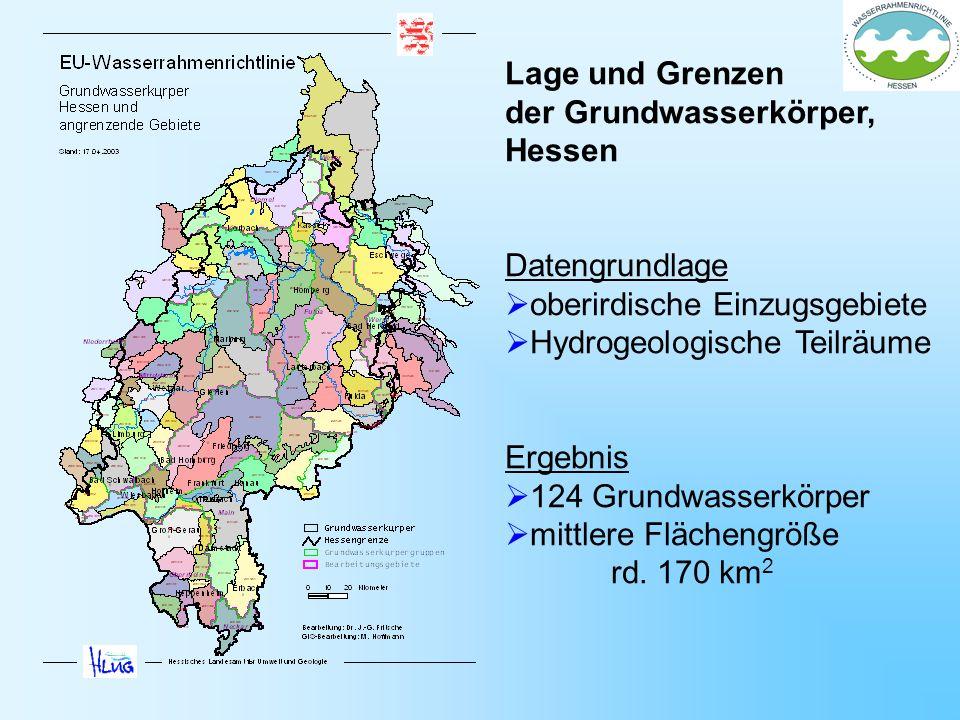 Lage und Grenzen der Grundwasserkörper, Hessen Datengrundlage oberirdische Einzugsgebiete Hydrogeologische Teilräume Ergebnis 124 Grundwasserkörper mi