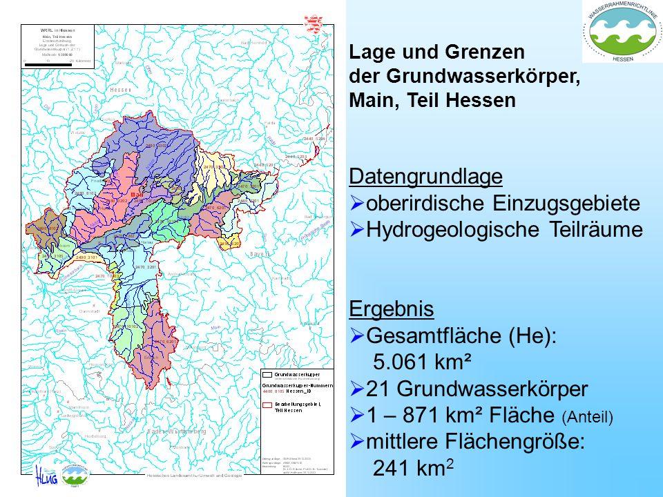 Lage und Grenzen der Grundwasserkörper, Main, Teil Hessen Datengrundlage oberirdische Einzugsgebiete Hydrogeologische Teilräume Ergebnis Gesamtfläche