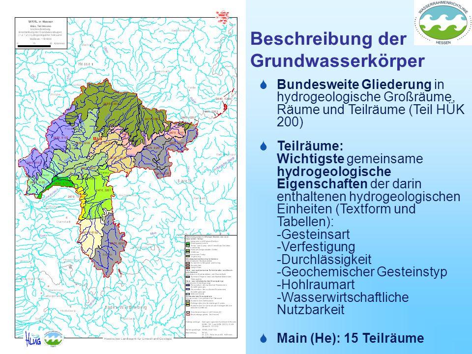 Beschreibung der Grundwasserkörper Bundesweite Gliederung in hydrogeologische Großräume, Räume und Teilräume (Teil HÜK 200) Teilräume: Wichtigste geme