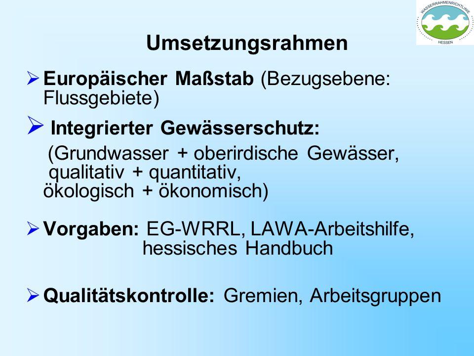 Umsetzungsrahmen Europäischer Maßstab (Bezugsebene: Flussgebiete) Integrierter Gewässerschutz: (Grundwasser + oberirdische Gewässer, qualitativ + quan