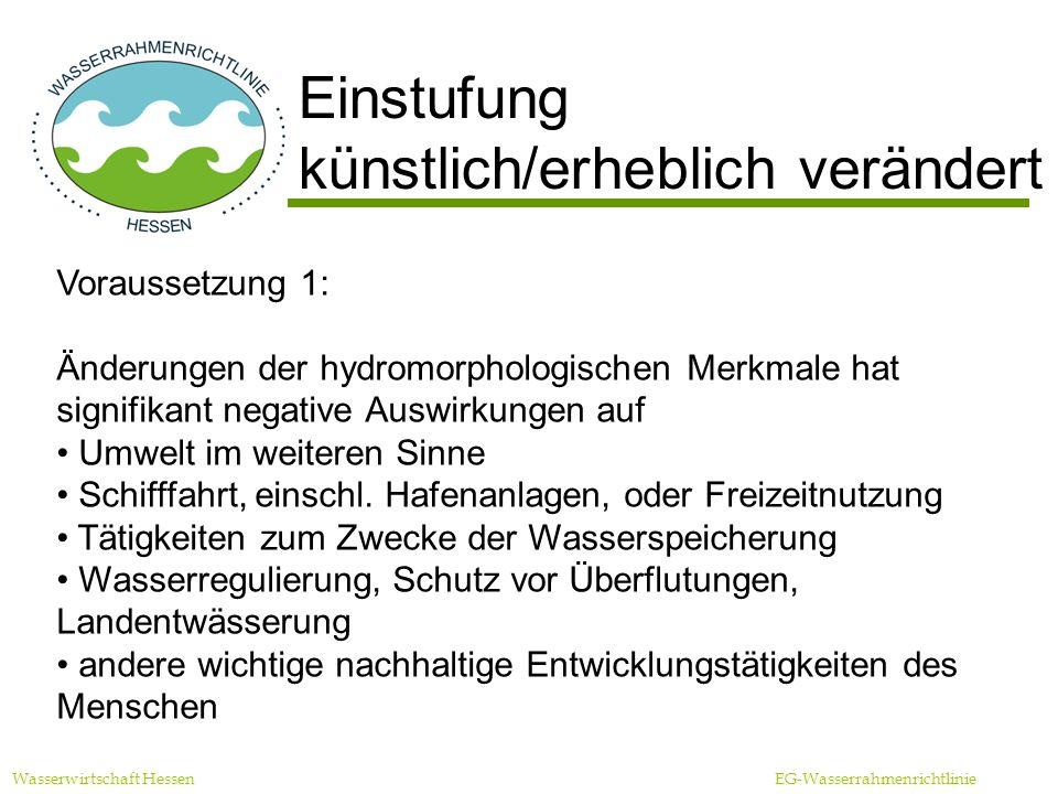Wasserwirtschaft Hessen EG-Wasserrahmenrichtlinie Einstufung künstlich/erheblich verändert Voraussetzung 2: Nutzbringende Ziele können nicht sinnvoll durch andere Mittel mit wesentlich besserer Umweltoption erreicht werden aus Gründen der technischen Durchführbarkeit aufgrund unverhältnismäßig hoher Kosten
