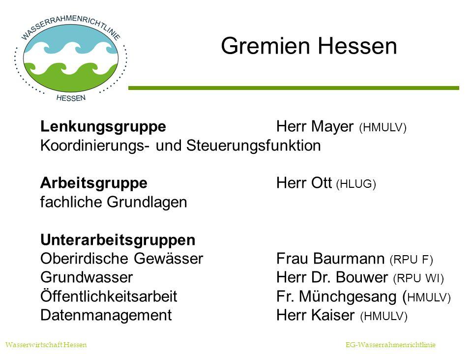 Gremien Hessen Wasserwirtschaft Hessen EG-Wasserrahmenrichtlinie LenkungsgruppeHerr Mayer (HMULV) Koordinierungs- und Steuerungsfunktion ArbeitsgruppeHerr Ott (HLUG) fachliche Grundlagen Unterarbeitsgruppen Oberirdische GewässerFrau Baurmann (RPU F) GrundwasserHerr Dr.