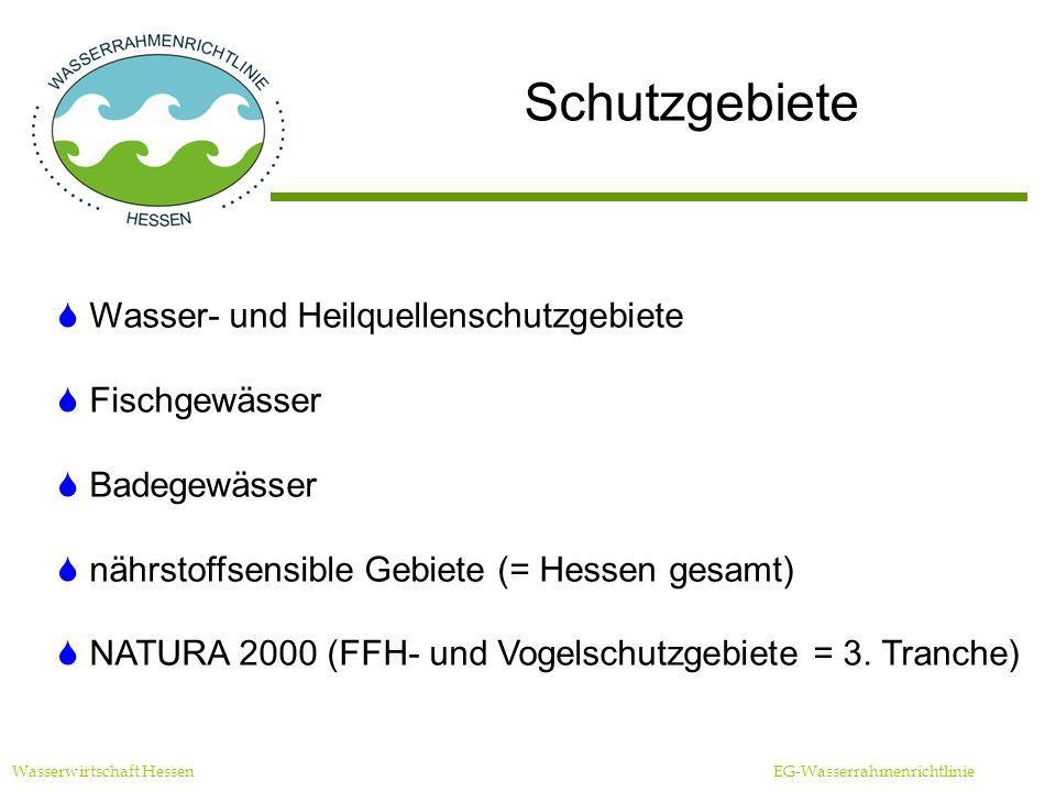 Schutzgebiete Wasserwirtschaft Hessen EG-Wasserrahmenrichtlinie Wasser- und Heilquellenschutzgebiete Fischgewässer Badegewässer nährstoffsensible Gebiete (= Hessen gesamt) NATURA 2000 (FFH- und Vogelschutzgebiete = 3.