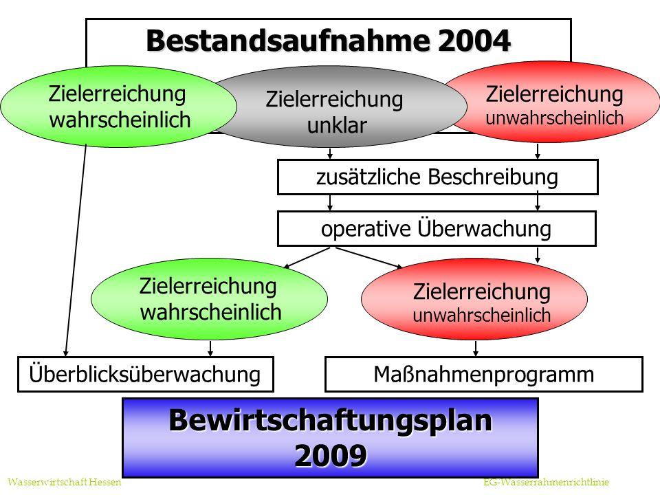 Bestandsaufnahme 2004 Zielerreichung unwahrscheinlich Überblicksüberwachung Bewirtschaftungsplan 2009 operative Überwachung Maßnahmenprogramm zusätzliche Beschreibung Wasserwirtschaft Hessen EG-Wasserrahmenrichtlinie Zielerreichung unklar Zielerreichung unwahrscheinlich Zielerreichung wahrscheinlich