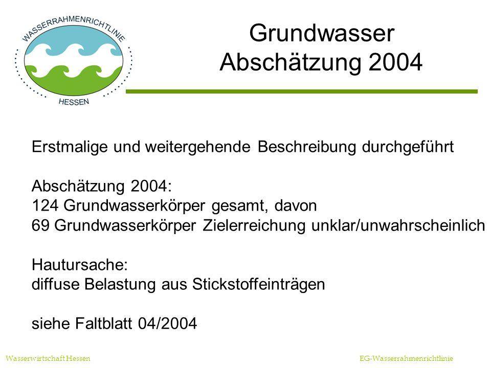 Grundwasser Abschätzung 2004 Wasserwirtschaft Hessen EG-Wasserrahmenrichtlinie Erstmalige und weitergehende Beschreibung durchgeführt Abschätzung 2004: 124 Grundwasserkörper gesamt, davon 69 Grundwasserkörper Zielerreichung unklar/unwahrscheinlich Hautursache: diffuse Belastung aus Stickstoffeinträgen siehe Faltblatt 04/2004