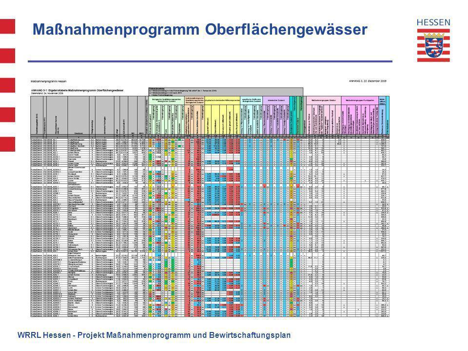 Maßnahmenprogramm Oberflächengewässer WRRL Hessen - Projekt Maßnahmenprogramm und Bewirtschaftungsplan