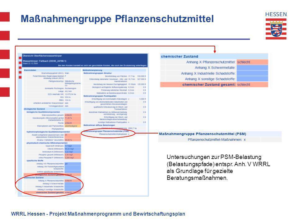 Maßnahmengruppe Pflanzenschutzmittel WRRL Hessen - Projekt Maßnahmenprogramm und Bewirtschaftungsplan Untersuchungen zur PSM-Belastung (Belastungspfad