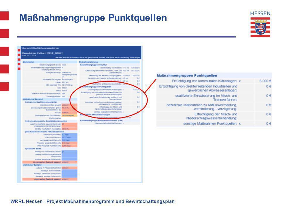 Maßnahmengruppe Punktquellen WRRL Hessen - Projekt Maßnahmenprogramm und Bewirtschaftungsplan