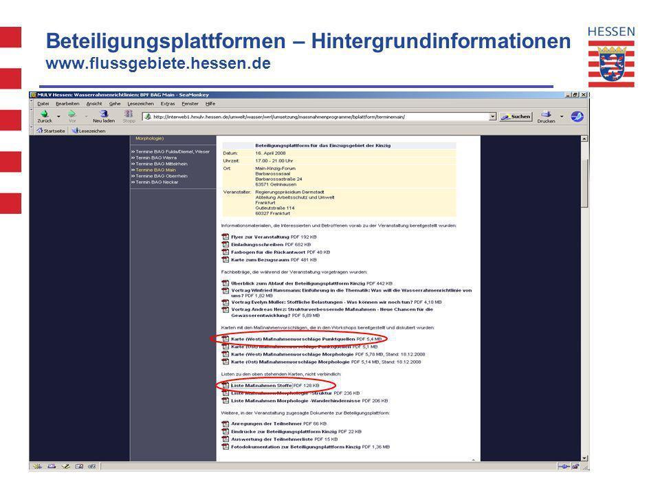 Beteiligungsplattformen – Hintergrundinformationen www.flussgebiete.hessen.de