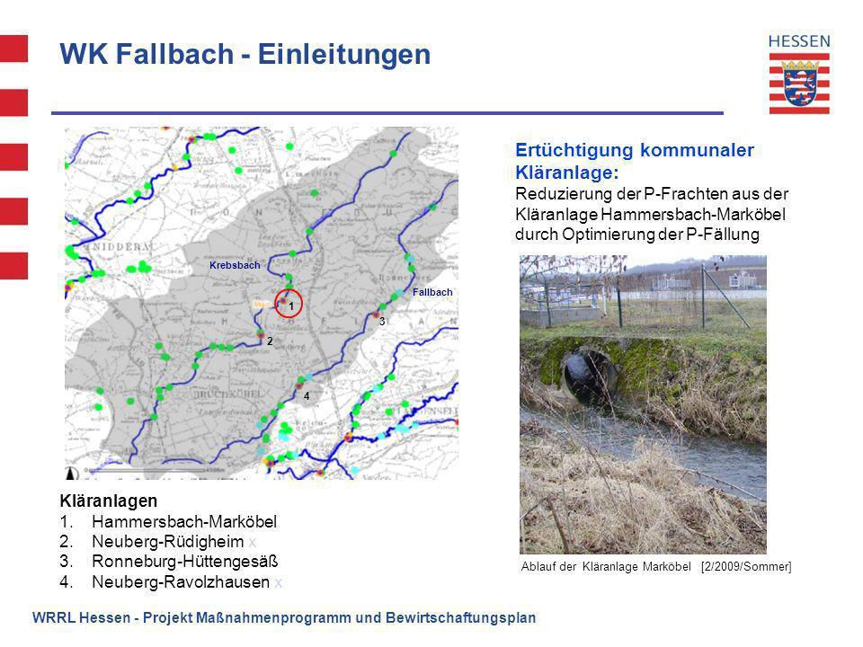 WK Fallbach - Einleitungen WRRL Hessen - Projekt Maßnahmenprogramm und Bewirtschaftungsplan Kläranlagen 1.Hammersbach-Marköbel 2.Neuberg-Rüdigheim x 3