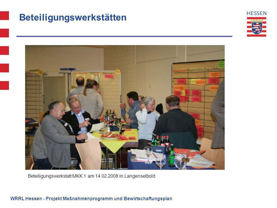 WRRL Hessen - Projekt Maßnahmenprogramm und Bewirtschaftungsplan Beteiligungswerkstätten Beteiligungswerkstatt MKK 1 am 14.02.2008 in Langenselbold