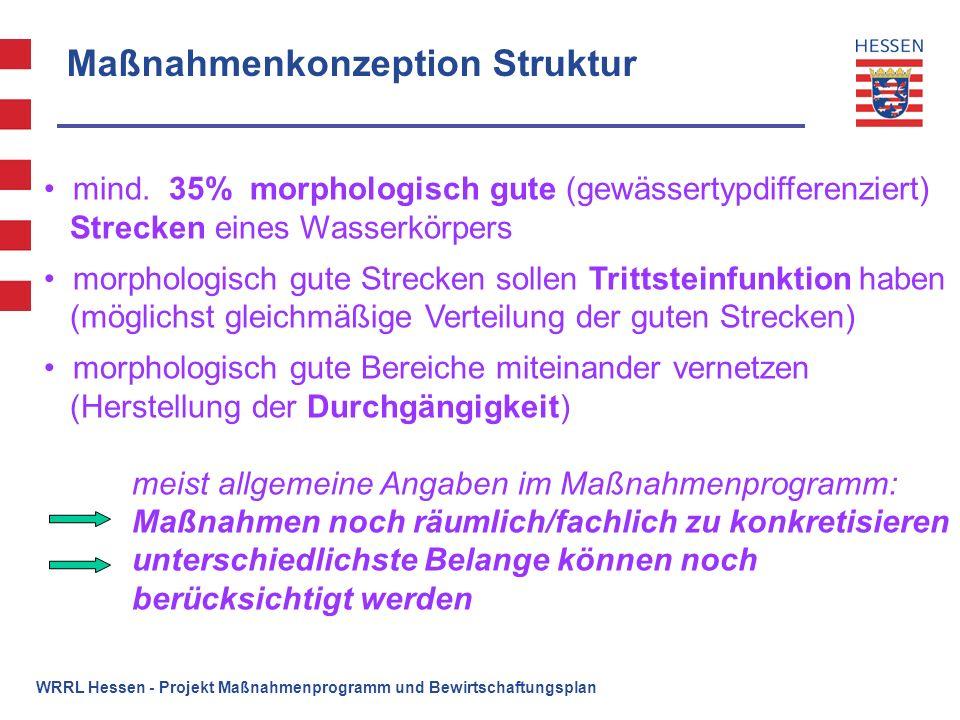 WRRL Hessen - Projekt Maßnahmenprogramm und Bewirtschaftungsplan Maßnahmenkonzeption Struktur mind. 35% morphologisch gute (gewässertypdifferenziert)