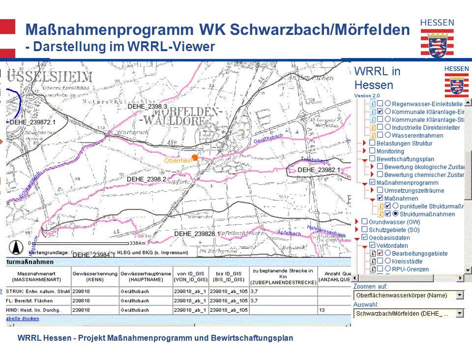 WRRL Hessen - Projekt Maßnahmenprogramm und Bewirtschaftungsplan Maßnahmenprogramm WK Schwarzbach/Mörfelden - Darstellung im WRRL-Viewer