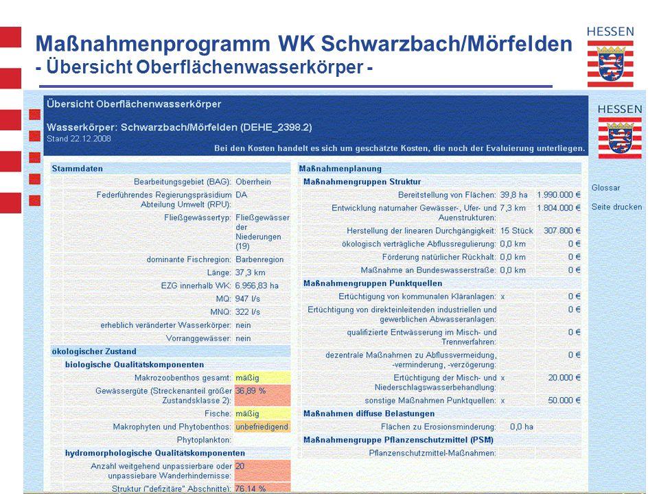 WRRL Hessen - Projekt Maßnahmenprogramm und Bewirtschaftungsplan Maßnahmenprogramm WK Schwarzbach/Mörfelden - Übersicht Oberflächenwasserkörper -