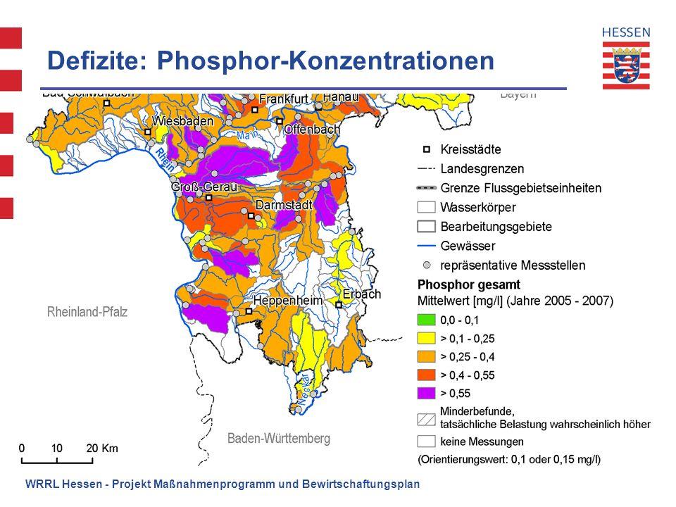 WRRL Hessen - Projekt Maßnahmenprogramm und Bewirtschaftungsplan Defizite: Phosphor-Konzentrationen