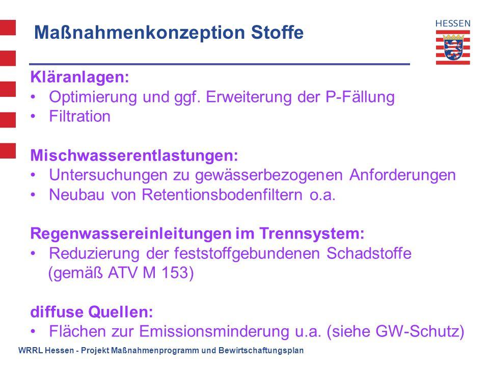 WRRL Hessen - Projekt Maßnahmenprogramm und Bewirtschaftungsplan Maßnahmenkonzeption Stoffe Kläranlagen: Optimierung und ggf. Erweiterung der P-Fällun