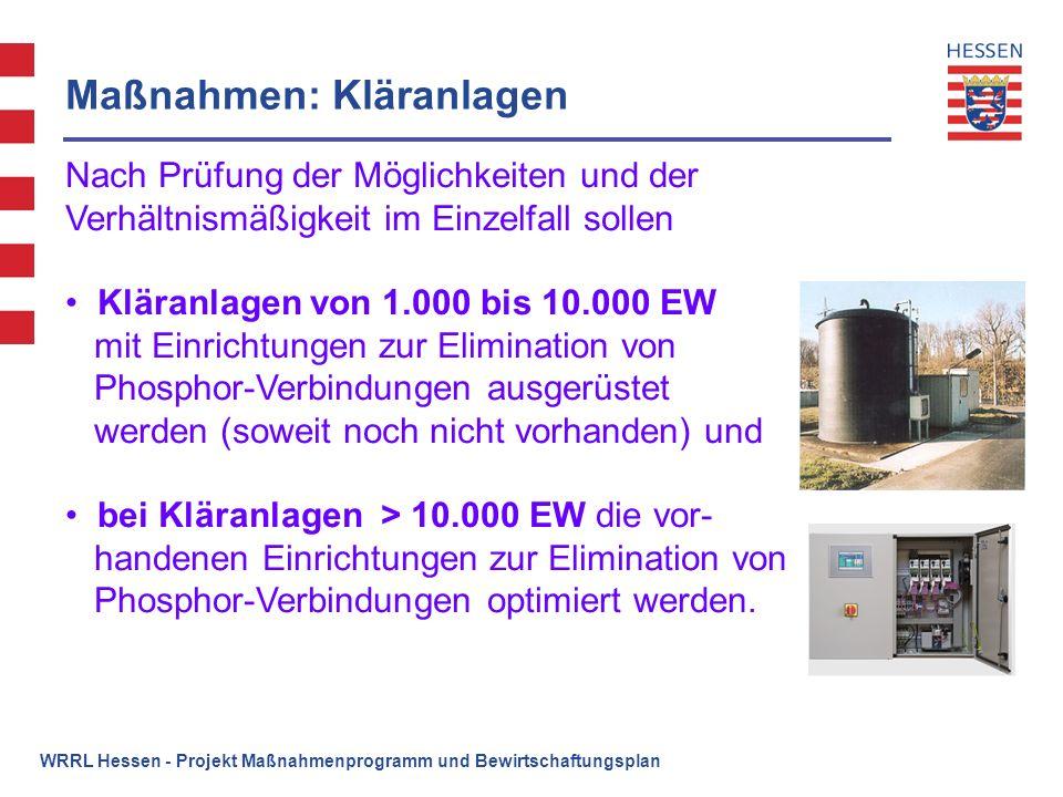 WRRL Hessen - Projekt Maßnahmenprogramm und Bewirtschaftungsplan Maßnahmen: Kläranlagen Nach Prüfung der Möglichkeiten und der Verhältnismäßigkeit im