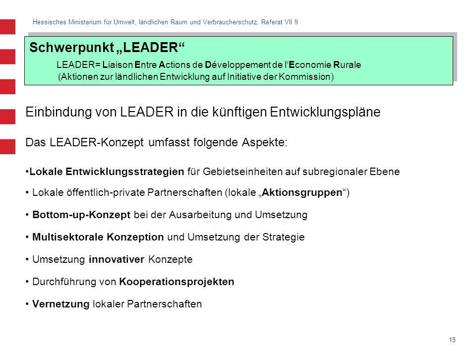 Hessisches Ministerium für Umwelt, ländlichen Raum und Verbraucherschutz, Referat VII 9 15 Schwerpunkt LEADER LEADER= Liaison Entre Actions de Dévelop