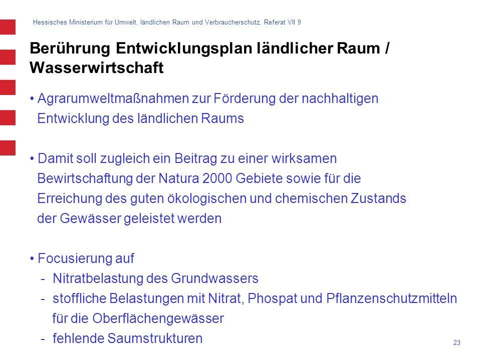 Hessisches Ministerium für Umwelt, ländlichen Raum und Verbraucherschutz, Referat VII 9 23 Berührung Entwicklungsplan ländlicher Raum / Wasserwirtscha