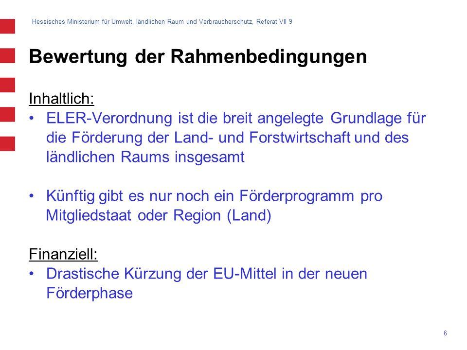 Hessisches Ministerium für Umwelt, ländlichen Raum und Verbraucherschutz, Referat VII 9 6 Bewertung der Rahmenbedingungen Inhaltlich: ELER-Verordnung