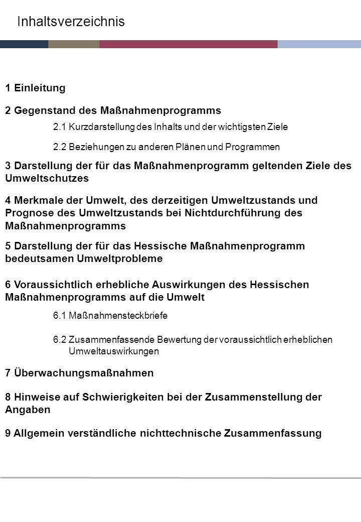 Inhaltsverzeichnis 1 Einleitung 2 Gegenstand des Maßnahmenprogramms 2.1 Kurzdarstellung des Inhalts und der wichtigsten Ziele 2.2 Beziehungen zu ander