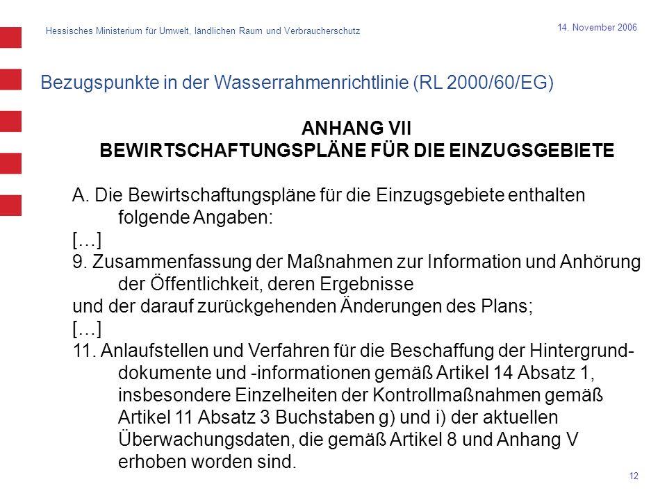 Hessisches Ministerium für Umwelt, ländlichen Raum und Verbraucherschutz 12 14. November 2006 ANHANG VII BEWIRTSCHAFTUNGSPLÄNE FÜR DIE EINZUGSGEBIETE