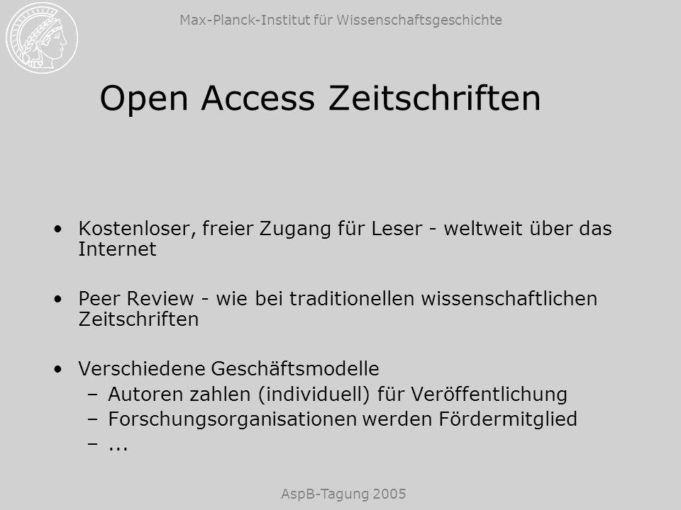 Max-Planck-Institut für Wissenschaftsgeschichte AspB-Tagung 2005 Open Access Zeitschriften Kostenloser, freier Zugang für Leser - weltweit über das In
