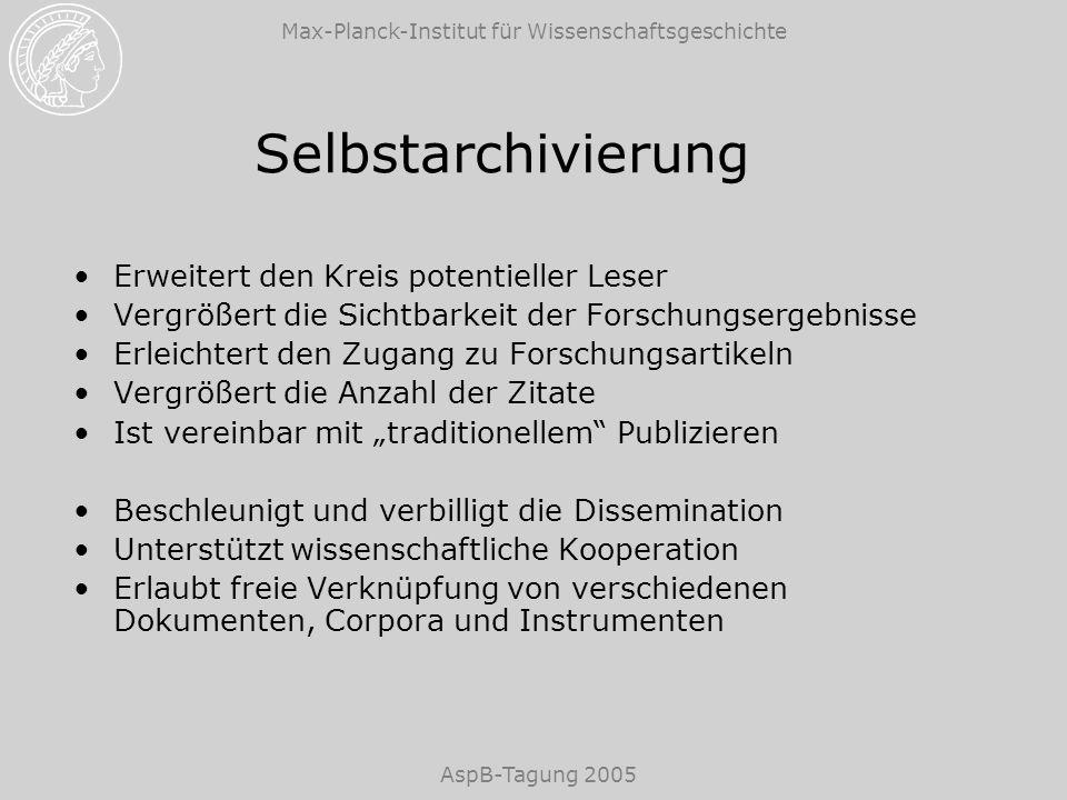 Max-Planck-Institut für Wissenschaftsgeschichte AspB-Tagung 2005 Selbstarchivierung Erweitert den Kreis potentieller Leser Vergrößert die Sichtbarkeit
